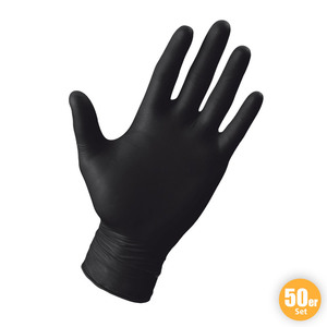 Multitec Latex-Handschuhe, Größe L - Schwarz, 50er-Set