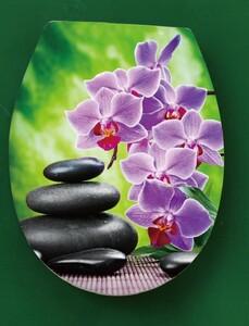 """badkomfort Duroplast WC-Sitz """"Zen Garten"""", Orchidee Grün-Lila"""