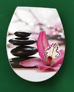 """badkomfort Duroplast WC-Sitz """"Zen Garten"""", Orchidee Weiß-Pink"""