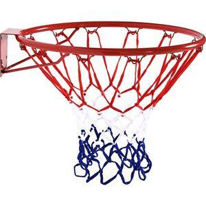 HOMCOM Basketballkorb mit Netz rot, blau, weiß 46 x 46 cm (ØxH)   Basketball Ballspiele Korb Backboard Basketballring