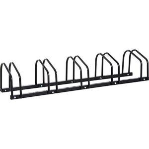 HOMCOM Aufstellständer bis zu 5 Fahrräder schwarz 130 x 33 x 27 cm (LxBxH)   Fahrradparkständer Radständer Fahrradständer