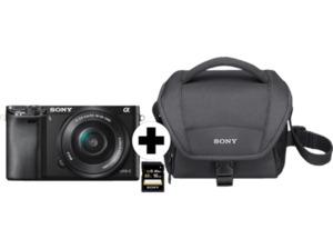 SONY A6000 (ILCE6000LBCDI) + Tasche + Speicherkarte Systemkamera, 24,3 Megapixel, Full HD, Exmor CMOS Sensor, Externer Blitzschuh, Near Field Communication, WLAN, 16-50 mm Objektiv, Autofokus, Bildsta