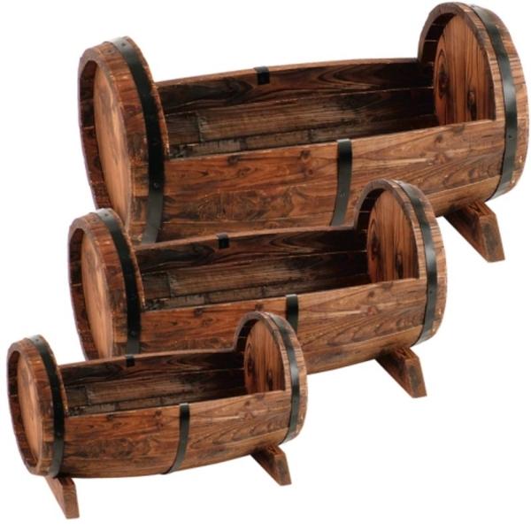 Holz-Pflanzfässer 3er-Set