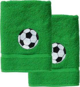 Handtuch 2er Set, je 50 x 100 cm, Fußball/Grün grün