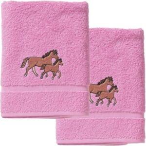 Handtuch 2er Set, je 50 x 100 cm, Pferd/Rosa rosa