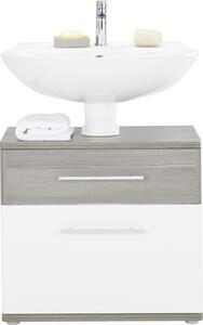 Waschbeckenunterschrank in Braun/Weiß