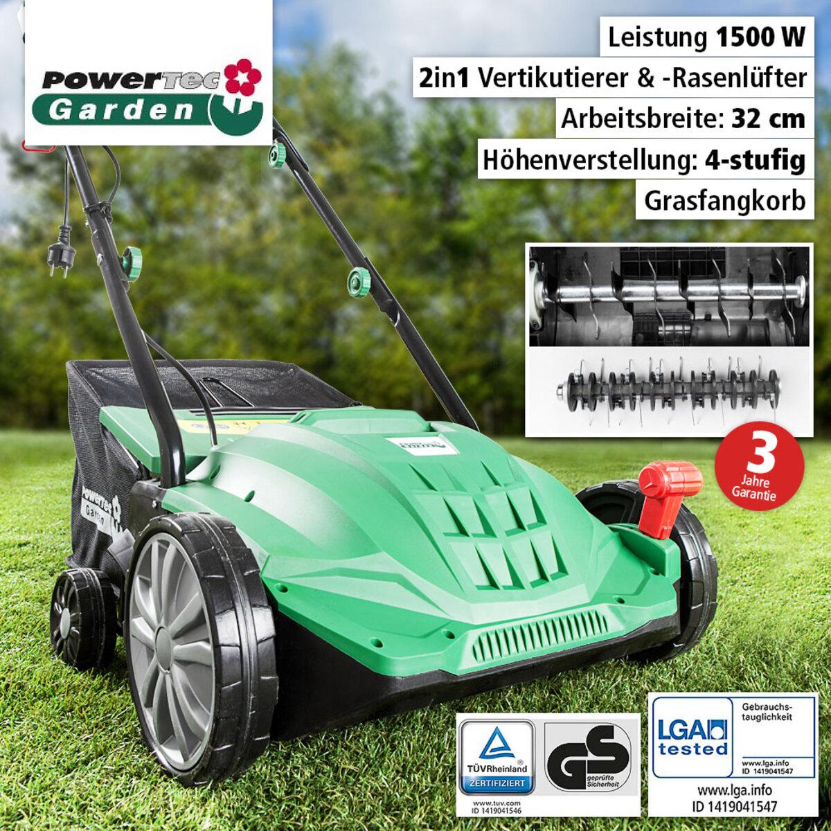 Bild 1 von Powertec Garden Elektro- Vertikutierer und -Rasenlüfter 2in1 WR6001-1500