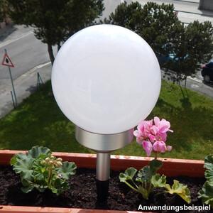LED Solarleuchte Ø15cm Leuchtkugel Bodenspieß