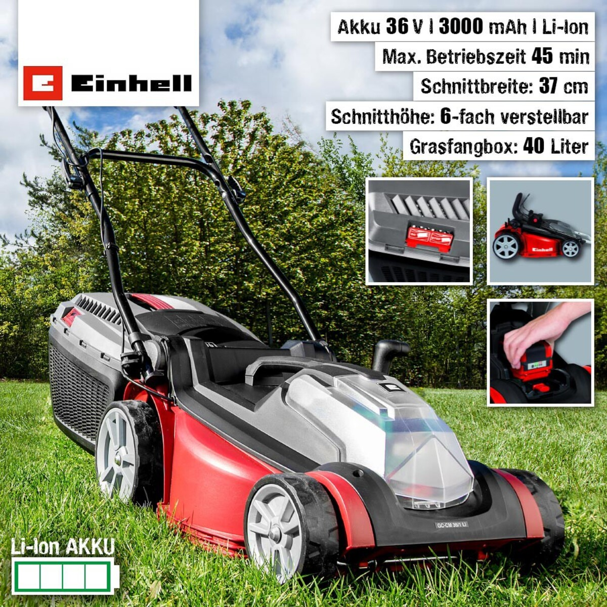 Bild 1 von Einhell Akku-Rasenmäher GC-CM 36/1 Li