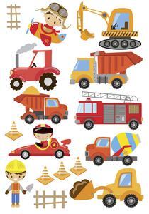 Dekosticker Fahrzeuge in Bunt