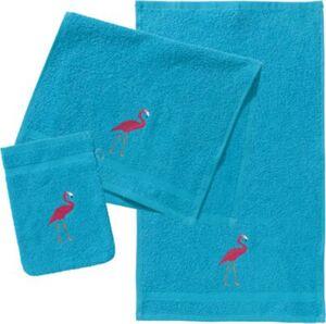 Frottierset, 2 Handtücher & 1 Waschlappen, Flamingo
