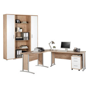 CANTUS BÜRO Schreibtisch seitenverkehrt montierbar Weiß