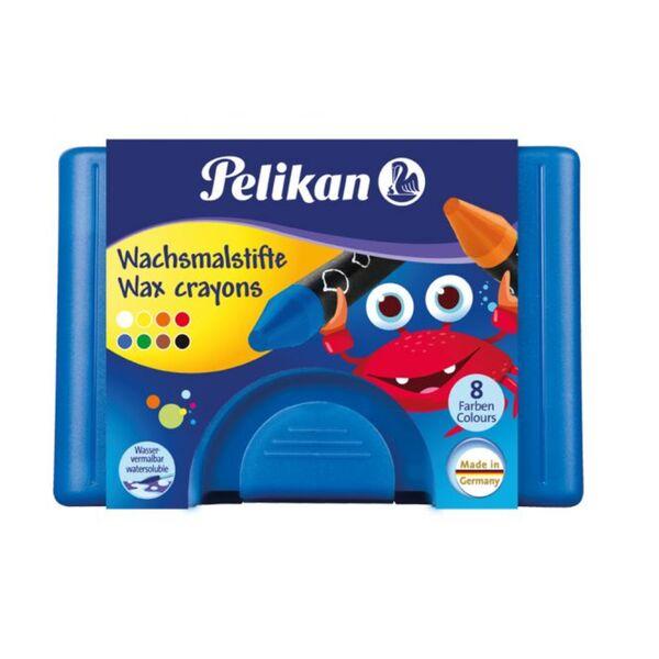 Pelikan, 8 Wachsmaler wasservermalbar, rund in Kunststoffbox