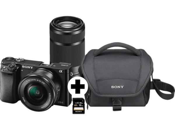 SONY Alpha 6000 Kit Systemkamera, 24.7 Megapixel, 2x opt. Zoom, Full HD, Exmor APS-C Sensor, Externer Blitzschuh, Near Field Communication, WLAN, 16-50 mm, 55-210 mm Objektiv, Autofokus, Schwarz