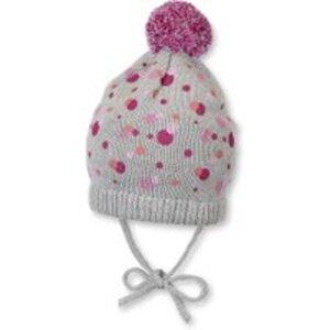 Baby Mütze zum Binden mit Bommel für Mädchen
