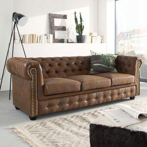 Sofa Torquay (3-Sitzer) - Antiklederoptik Braun, ars manufacti