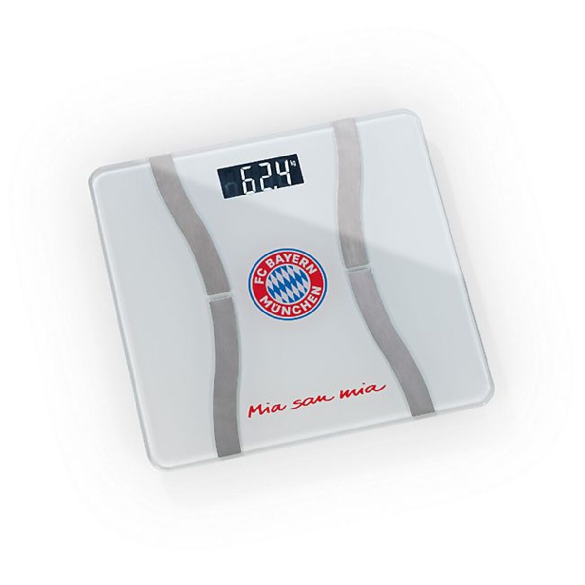 Bild 1 von FCB Personen-Waage Körperanalyse Mia san Mia 3V weiß/silber mit Bluetooth & Logo