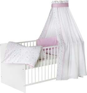 Schardt Kombi-Kinderbett ´´Classic-Line weiß´´, ´´Herzchen rosa´´
