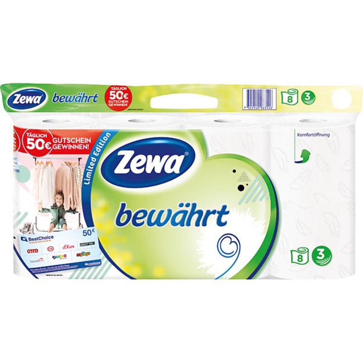 Bild 1 von Zewa bewährt Toilettenpapier, strapazierfähiges WC-Papier 3-lagig in zartem Gelb, 1 x Vorratspack mit 8 Rollen