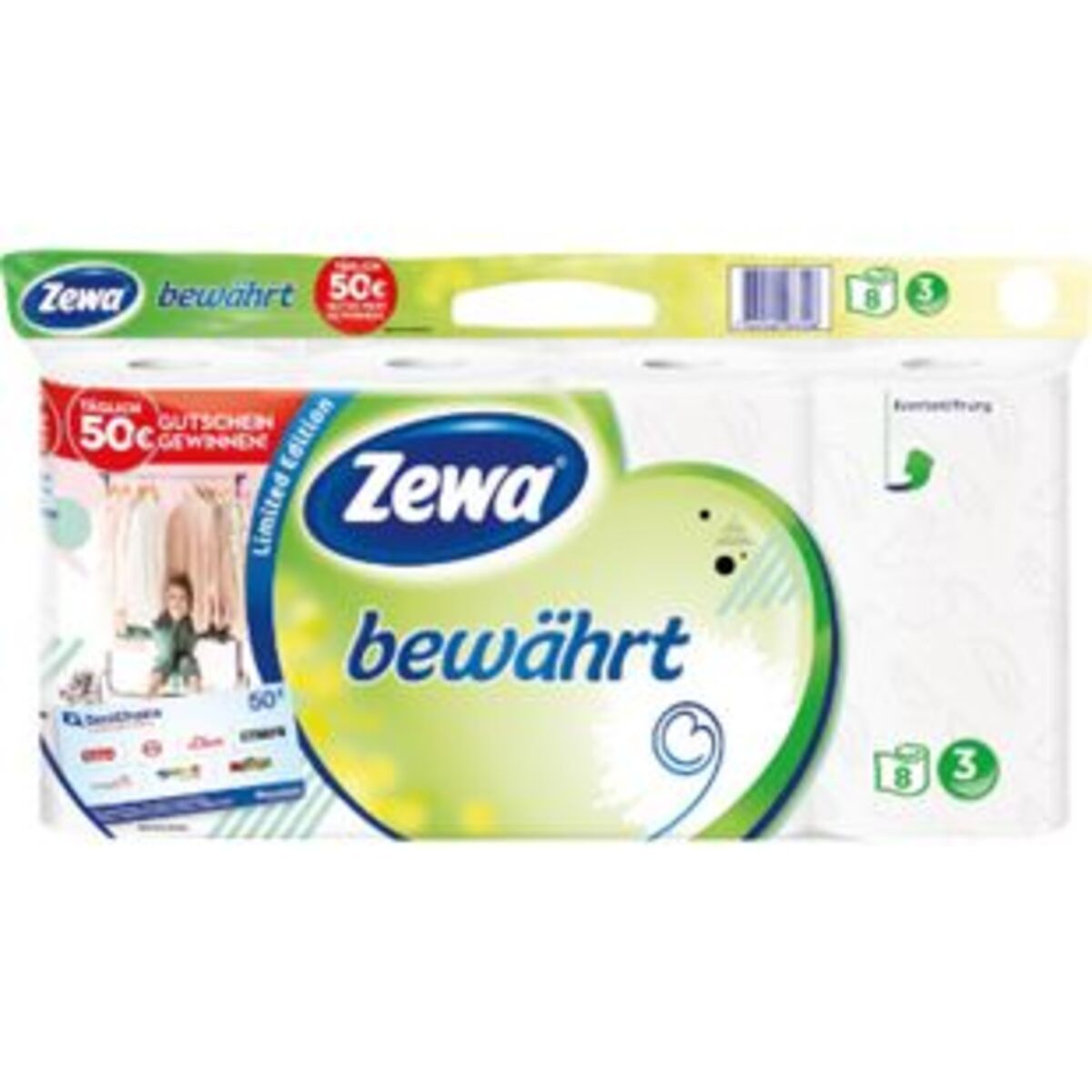 Bild 2 von Zewa bewährt Toilettenpapier, strapazierfähiges WC-Papier 3-lagig in zartem Gelb, 1 x Vorratspack mit 8 Rollen