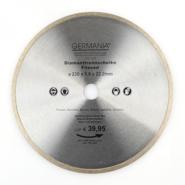 Diamanttrennscheibe 230x2,6x22,2mm Fliesen Kacheln Schiefer Eternit Trennscheibe