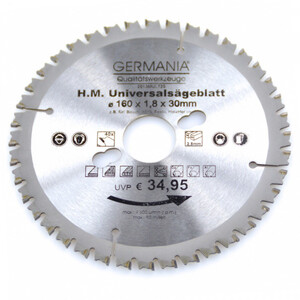HM Multi Sägeblatt 160x30mm 40Zähne universal Alu Holz Kunststoff Kreissägeblatt