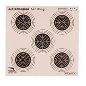 Zielscheiben 14x14 cm 5-er Ringmotiv 50-teilig Pappe