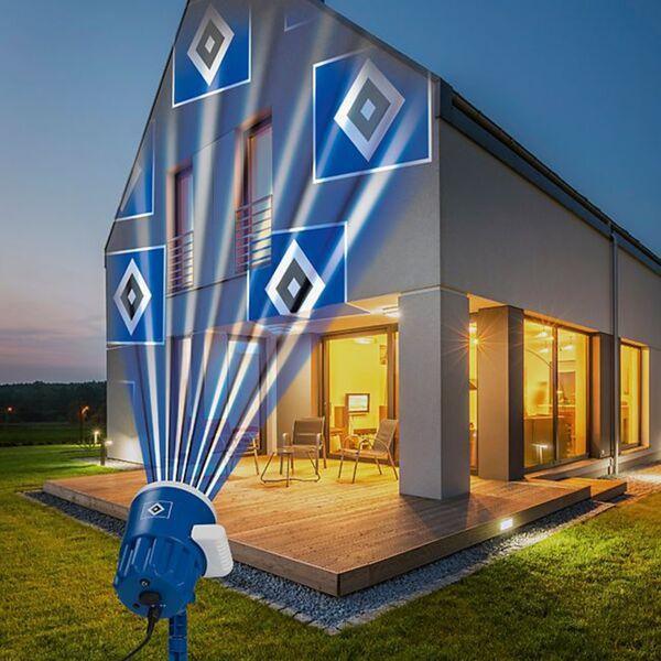 HSV LED-Motivstrahler 7,5W blau mit Logo