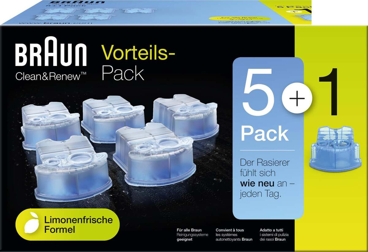 Bild 1 von Braun Clean & Renew Reinigungskartuschen Lemon Fresh, Promo-Pack 5+1