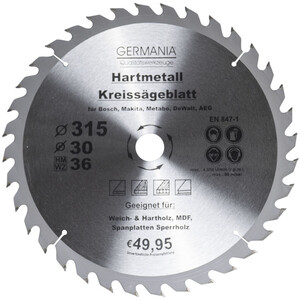 Germania Hartmetall Kreissägeblatt Ø 315 mm Holz