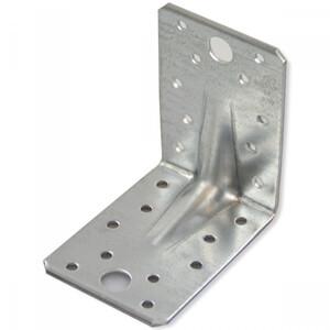 Lochplattenwinkel 90 x 90 x 65 mm aus Stahl mit Steg