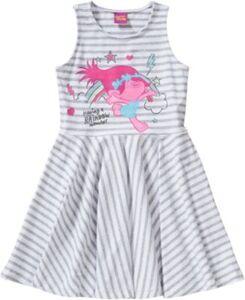 Trolls Kinder Jerseykleid weiß/grau Gr. 92/98 Mädchen Kleinkinder