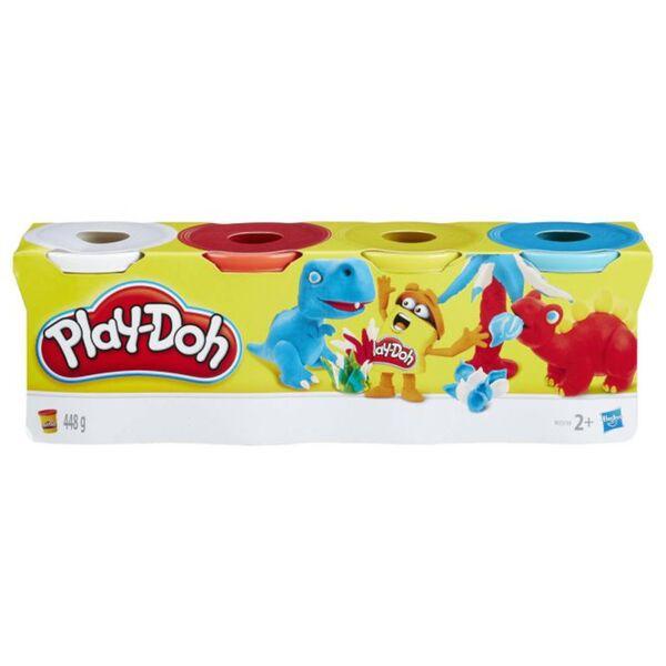 Play-Doh - 4er Pack Knete - blau/gelb/rot/weiß