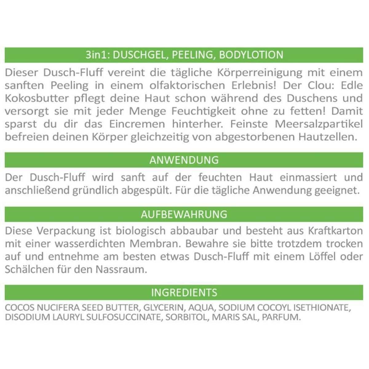 Bild 2 von puremetics 3in1 Dusch-Fluff ´´Limette´´ mit Salzpeeling 5.18 EUR/100 g