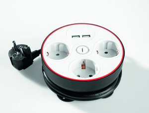 Powertec Electric Clevere 3-fach Steckdose mit Kabelbefestigungseinrichtung schwarz/weiß