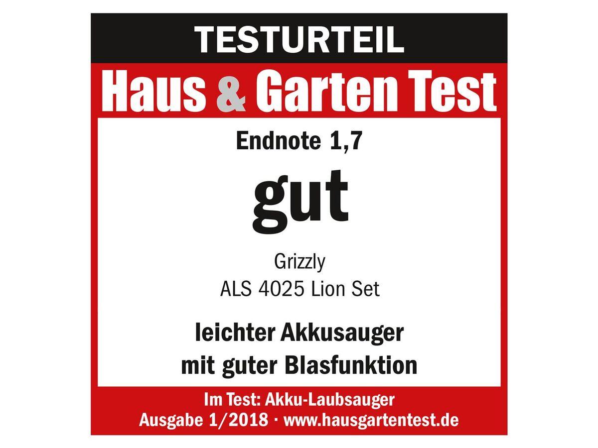 Bild 7 von Grizzly Akku-Laubsauger ALS 4025 Lion Set mit 1 Akku 2,5 Ah / 1,25 h Ladegerät 40 V Akkusystem