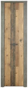 Garderobenschrank in Beton- und Holzoptik