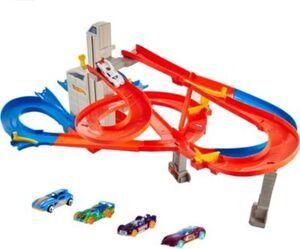 Hot Wheels Auto-Lift Expressway Track Set inklusive 5 Autos
