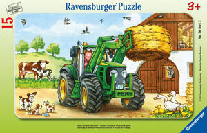 Rahmenpuzzle - Traktor auf dem Bauernhof - 15 Teile