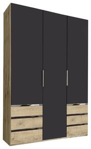Drehtürenschrank Level 36A B:150cm Graphit/Eiche Dekor