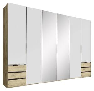 Drehtürenschrank Level 36A B:300cm Weiß/Eiche Dekor