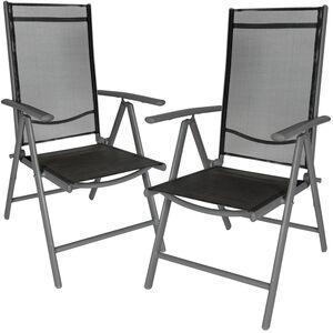 2 Aluminium Gartenstühle schwarz/anthrazit