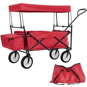 Faltbarer Bollerwagen mit Dach und Tragetasche rot