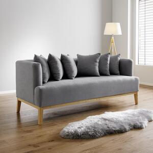 Sofa in Grau mit Holzrahmen 'Mina'