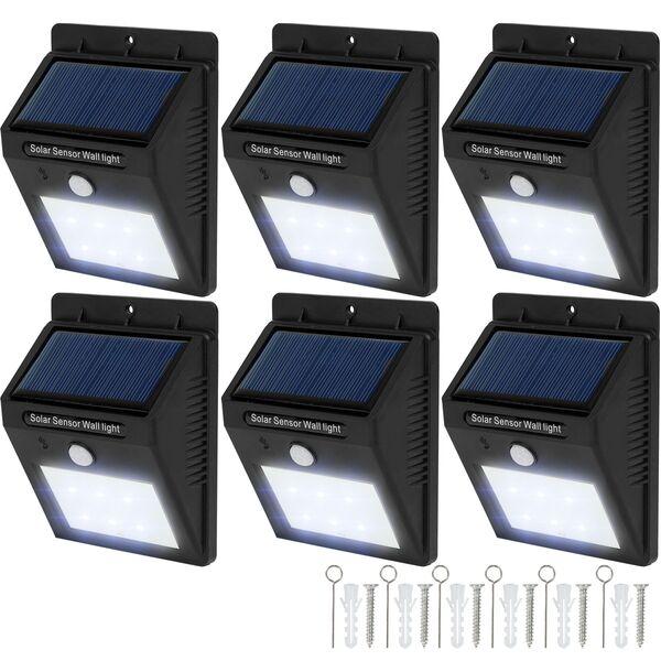 6 LED Solar Leuchten mit Bewegungsmelder