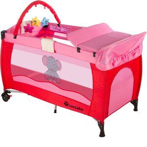 Kinderreisebett Elefant mit Wickelauflage pink