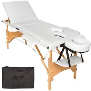 3 Zonen Massageliege mit Polsterung und Holzgestell weiß