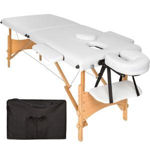 2 Zonen Massageliege mit 5cm Polsterung und Holzgestell weiß