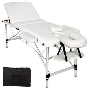 3 Zonen Massageliege mit 5cm Polsterung und Aluminiumgestell weiß