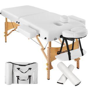 2 Zonen Massageliege mit 7,5cm Polsterung und Holzgestell weiß